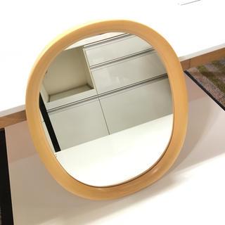 秋田木工 壁掛け鏡 ミラー ナチュラル 小判型(壁掛けミラー)