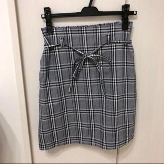 ナイスクラップ(NICE CLAUP)のナイスクラップ ベルト付チェックスカート(ひざ丈スカート)