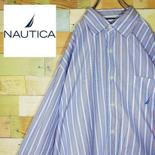 ノーティカ(NAUTICA)の古着 ノーティカ ストライプ 刺繍ロゴ ワンポイント シャツ(シャツ)