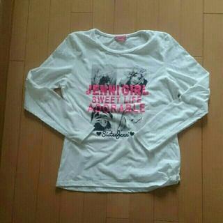 ジェニィ(JENNI)のジェニィJenni白ガールgirlモノクロ転写プリント柄長袖Tシャツ160サイズ(Tシャツ/カットソー)