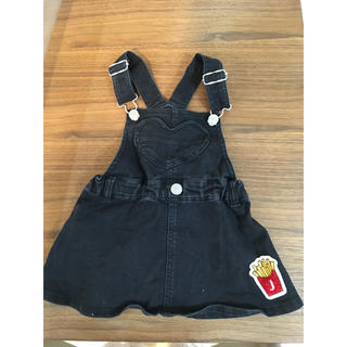 ジェニィ(JENNI)のJENNI ブラックデニム ジャンパースカート 90センチ(ワンピース)