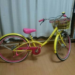 ジェニィ(JENNI)のジェニィJenniピンク黄色自転車24インチ 美品(自転車)