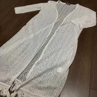 スプレイ(SpRay)のSpray かぎ編み裾フリンジロングカーディガン(カーディガン)