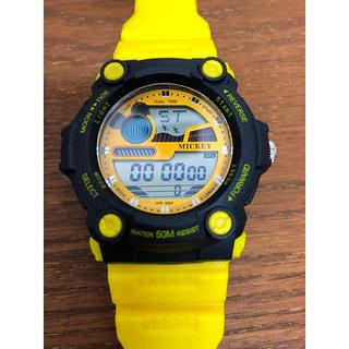 ディズニー(Disney)の腕時計 ディズニー ミッキー イエロー  キッズ(腕時計)