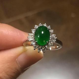 【最高級品】天然 氷種 帝王緑 翡翠 リング(リング(指輪))