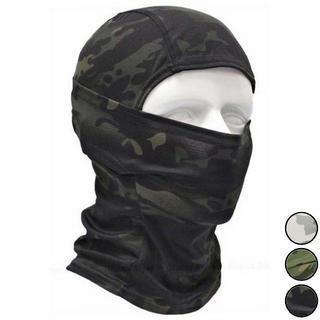 高機能 3way フェイスマスク ただの目だし帽じゃない ブラック×森林迷彩(ネックウォーマー)