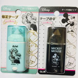 ディズニー(Disney)の新品♡テープのり♡修正テープ♡アリエル♡ミッキー(消しゴム/修正テープ)