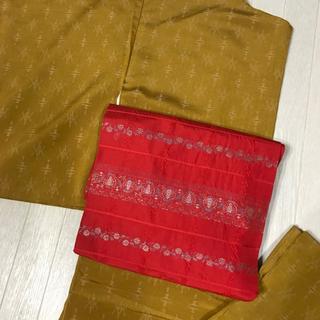 平成セール 小紋と名古屋帯のセット 辛子色 袷 普段着物  古典柄 レトロ(着物)
