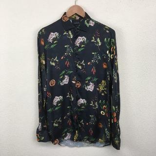 ザラ(ZARA)のZARA ザラ シャツ 黒/ブラック 花柄模様 サイズ:M(シャツ)