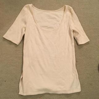 デミルクスビームス(Demi-Luxe BEAMS)のビームス 白カットソー ホワイト コットン100パーセント(カットソー(半袖/袖なし))