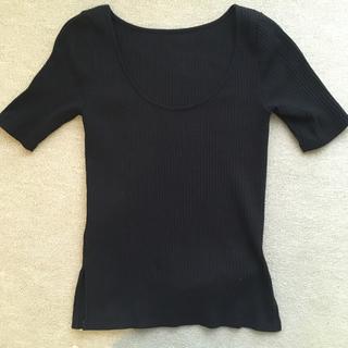 デミルクスビームス(Demi-Luxe BEAMS)のビームス 黒背中あきカットソー コットン100%(カットソー(半袖/袖なし))
