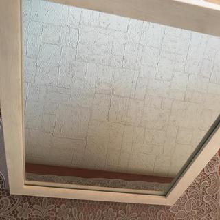 ミラー 壁掛けor縦置き可能 ホワイト(壁掛けミラー)