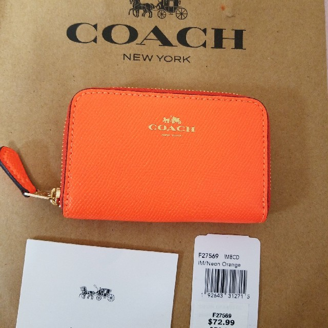 new style 44251 6a861 COACH コーチ コインケース ネオンオレンジ | フリマアプリ ラクマ