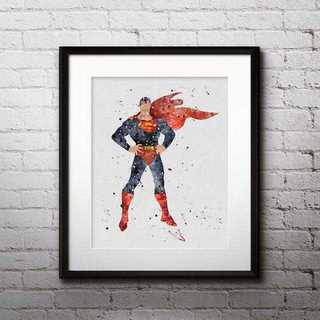 ディズニー(Disney)の日本未発売!スーパーマン・アートポスター【額縁つき・送料無料!】(ポスター)
