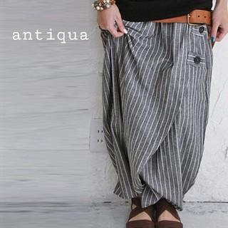 アンティカ(antiqua)のantiqua ストライプドワイドパンツ ヘリンボーン柄パンツセットアンティカ(サルエルパンツ)