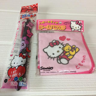 セーラー(Sailor)のキティ5色ボールペン+シャープペンシル、ハンカチセット(キャラクターグッズ)