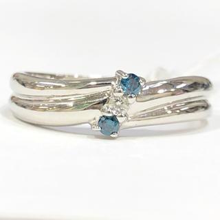 K14WG ブルーダイヤモンド リング(リング(指輪))
