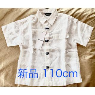コムサイズム(COMME CA ISM)の【新品】コムサイズム 110cm 半袖 麻の刺繍シャツ 白 定価¥6372(Tシャツ/カットソー)