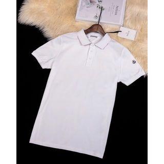 モンクレール(MONCLER)のmonclerポロシャツ半袖TシャツホワイトメンズM-3XLサイズ(Tシャツ/カットソー(半袖/袖なし))