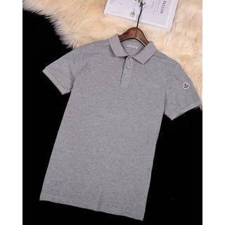 モンクレール(MONCLER)のmonclerポロシャツ半袖Tシャツグレー  メンズLサイズ(ポロシャツ)
