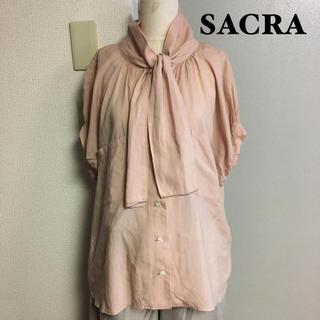 サクラ(SACRA)の【SACRA】サクラ ピンク ボウタイブラウス(シャツ/ブラウス(半袖/袖なし))