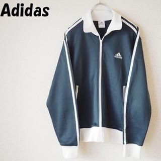 adidas - 【人気】アディダス ワンポイントロゴジャージ グレー リブ(ホワイト) サイズM