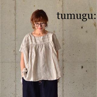 ツムグ(tumugu)のバニラ様専用 tumugu リネンヘリンボーンプルオーバー ホワイト(シャツ/ブラウス(半袖/袖なし))