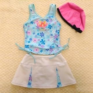 8290a5c71347f ディズニー(Disney)の女の子 セパレート水着 110 スイムウエア 帽子付 水色 ディズニープリンセス(