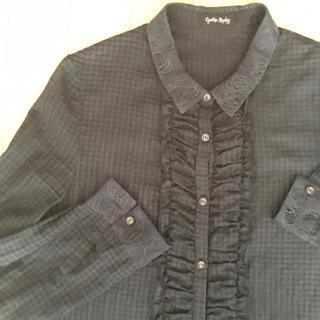 シンシアローリー(Cynthia Rowley)のシンシアローリー 刺繍&フリル付きシースルーブラウス黒(シャツ/ブラウス(長袖/七分))