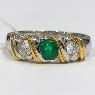 PT900 K18 エメラルド ダイヤモンド リング(リング(指輪))