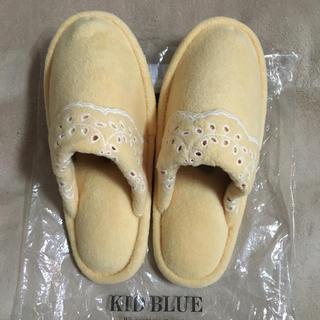 キッドブルー(KID BLUE)のキッドブルー フリース暖か レース刺繍 スリッパ(スリッパ/ルームシューズ)