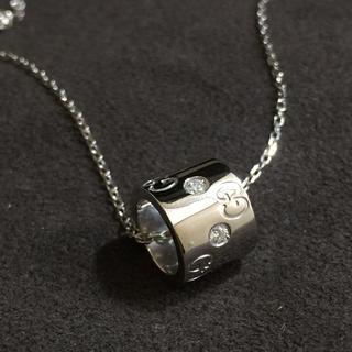 グッチ(Gucci)のGucci グッチ K18WG ダイヤ アイコン ペンダント ネックレス(ネックレス)