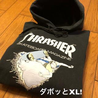 スラッシャー(THRASHER)のダボッと大きめXL!THRASHERスラッシャー 古着スウェットパーカー黒×水色(パーカー)