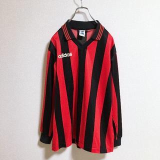 アディダス(adidas)の90s adidas デサント製 ゲームシャツ ストライプ柄(Tシャツ/カットソー(七分/長袖))