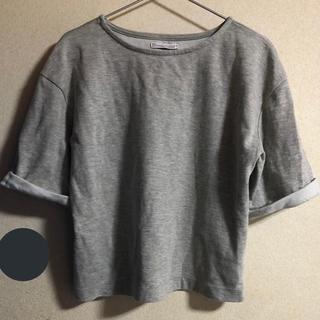 ザラ(ZARA)の半袖 スウェット トップス グレー(Tシャツ(半袖/袖なし))