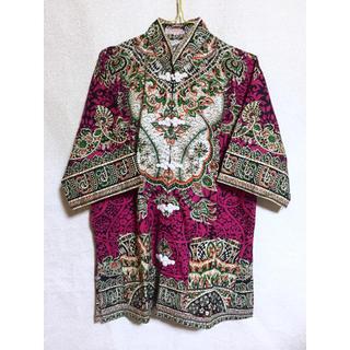 グリモワール(Grimoire)の古着 80s 90s vintage 総柄 チャイナシャツ チャイナカラー (シャツ)