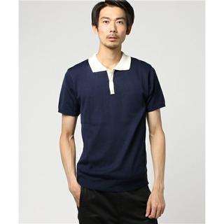 トランスコンチネンツ(TRANS CONTINENTS)の新品 Mサイズ トランスコンチネンツ ニットポロ 配色切替半袖(ポロシャツ)