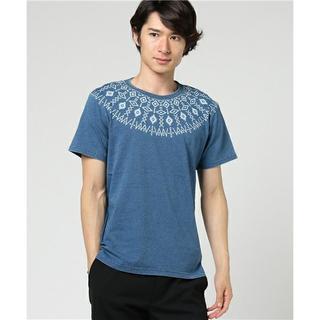 トランスコンチネンツ(TRANS CONTINENTS)の新品 Mサイズ トランスコンチネンツ Tシャツ インディゴ裏毛求心柄 ネイビー(Tシャツ/カットソー(半袖/袖なし))
