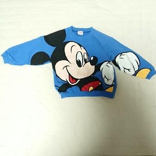ディズニー(Disney)のディズニー ミッキー 長袖 トレーナー 青 サイズ110(Tシャツ/カットソー)