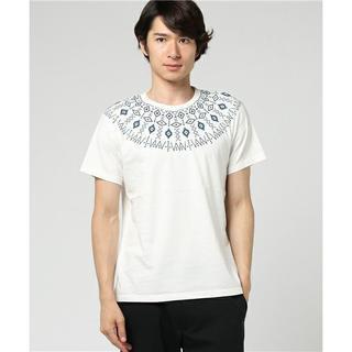 トランスコンチネンツ(TRANS CONTINENTS)の新品 Mサイズ トランスコンチネンツ Tシャツ インディゴ裏毛求心柄 ホワイト(Tシャツ/カットソー(半袖/袖なし))