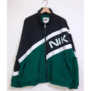 NIKE - 90s 銀タグ ナイロンジャケット L ブラックxグリーンxホワイト