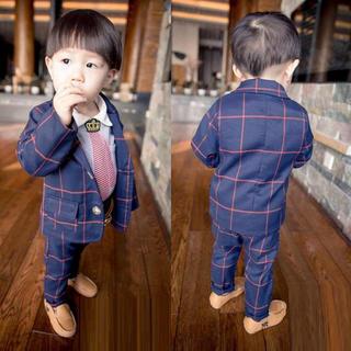【インスタで話題♪】キッズ チェック柄 フォーマル スーツ fh08(ドレス/フォーマル)
