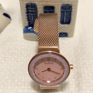 スカーゲン(SKAGEN)のピンクゴールド 腕時計(美品)(腕時計)