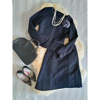 (118)新品♪M 9号 ノーカラーツイードジャケット&スカート(スーツ)