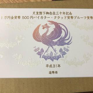 天皇陛下御在位30年記念一万円金貨及び五百円バイカラー・クラッド貨幣プルーフ貨幣(金属工芸)