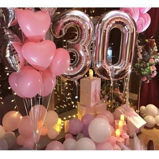 big0〜9数字バルーンナンバー風船 パーティー 誕生日 シルバー 110cm(ガーランド)