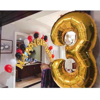 big0〜9数字バルーンナンバー風船 パーティー 誕生日 ゴールド110cm(ガーランド)