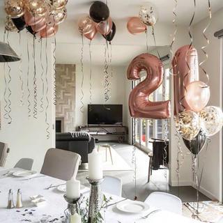 big0〜9数字バルーンナンバー風船 パーティー 誕生日ローズゴールド110cm(ガーランド)