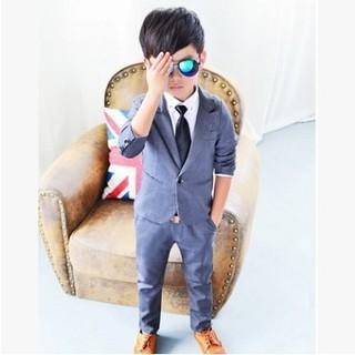 スーツ キッズ グレー110 フォーマル セット ネクタイ付き(ドレス/フォーマル)