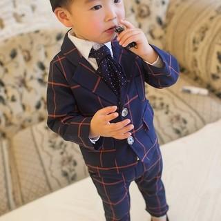 【男の子1番人気】 ネイビー チェック タキシードフォーマル 120cm(ドレス/フォーマル)